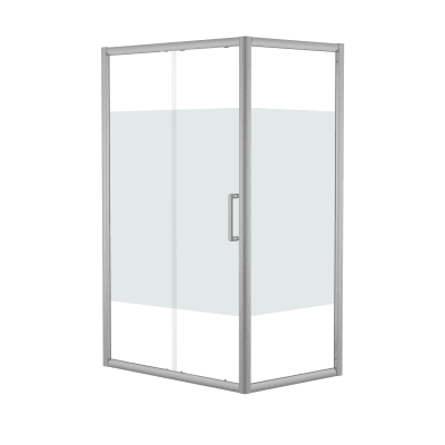 Doccia con porta scorrevole e lato fisso Quad 167.5 - 170,5 x 77.5 - 79 cm, H 190 cm cristallo 6 mm serigrafato/silver