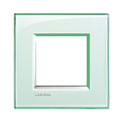 Placca 2 moduli BTicino Livinglight acquamarina