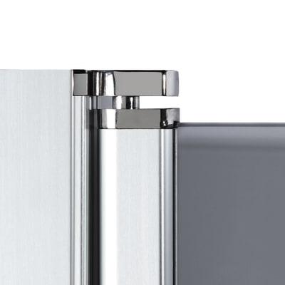 Doccia con porta battente e lato fisso Neo 73 - 75 x 77 - 79 cm, H 200 cm vetro temperato 6 mm fumè/silver