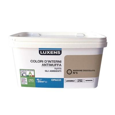 Idropittura lavabile Antimuffa Marrone Cioccolato 5 - 4 L Luxens