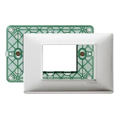 Placca 3 moduli Vimar Plana alluminio spazzolato