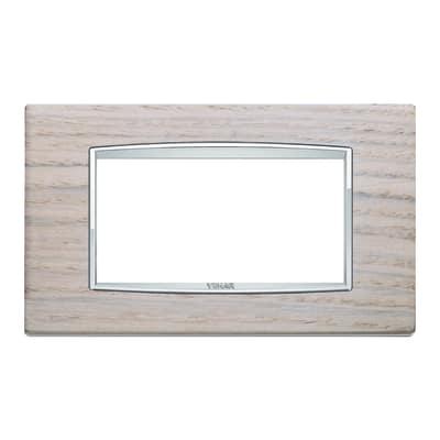 Placca 4 moduli Vimar Eikon Classic rovere bianco