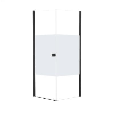 Doccia con porta battente e lato fisso Neo 67 - 69 x 77 - 79 cm, H 200 cm vetro temperato 6 mm serigrafato/nero