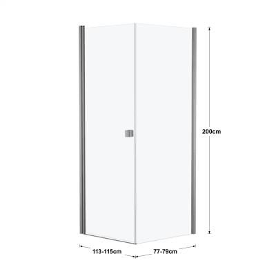 Doccia con porta battente e lato fisso Neo 73 - 75 x 77 - 79 cm, H 200 cm vetro temperato 6 mm silver