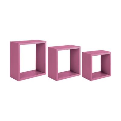 Set 3 cubi Spaceo rosa, sp 1,8 cm