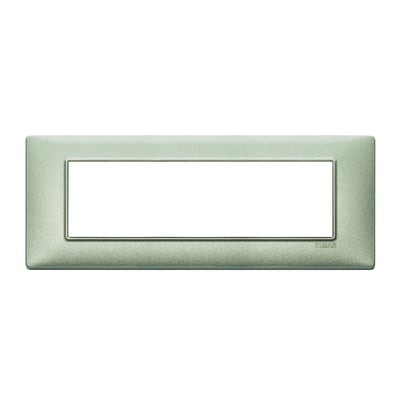 Placca 7 moduli Vimar Plana verde metallizzato