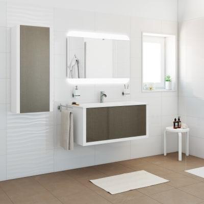Mobile bagno Roxanne bianco, frontale in vetro effetto tessuto L 100 cm