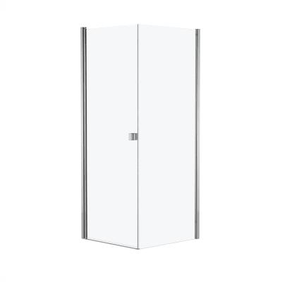Doccia con porta battente e lato fisso Neo 79 - 81 x 77 - 79 cm, H 200 cm vetro temperato 6 mm cromo PVD