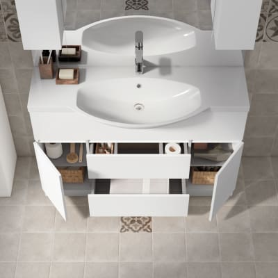Mobile bagno elise bianco l 120 cm prezzi e offerte online for Mobili bagno bianchi