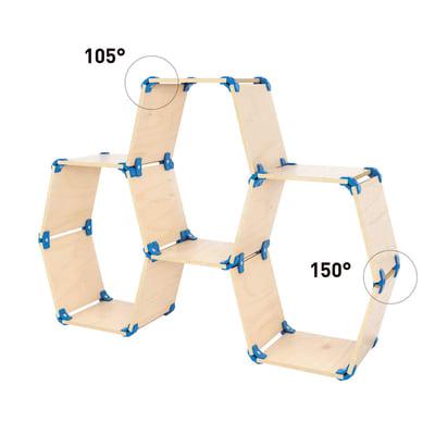 Connettore Playwood 150° per pannelli in legno in plastica hi-tech blu confezione 4 pezzi