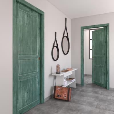 Porta da interno battente Old Town verde sbiancato 70 x H 210 cm reversibile