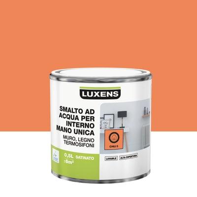 Smalto manounica Luxens all'acqua Arancio Chili 5 satinato 0.5 L