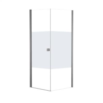 Doccia con porta battente e lato fisso Neo 87 - 89 x 77 - 79 cm, H 200 cm vetro temperato 6 mm serigrafato/bianco opaco