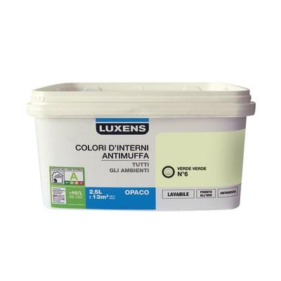 Idropittura lavabile Antimuffa Verde Verde 6 - 2,5 L Luxens
