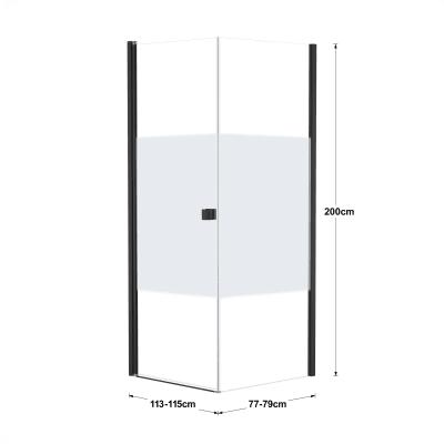 Doccia con porta battente e lato fisso Neo 73 - 75 x 77 - 79 cm, H 200 cm vetro temperato 6 mm serigrafato/nero