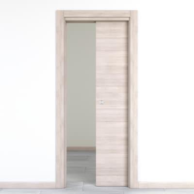 Porta da interno scorrevole Resort Larice ghiaccio 80 x H 210 cm reversibile