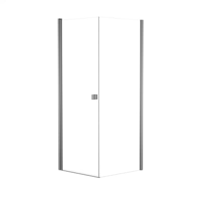 Doccia con porta battente e lato fisso Neo 97 - 99 x 77 - 79 cm, H 201,7 cm vetro temperato 6 mm trasparente/silver