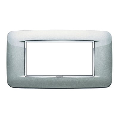 Placca 4 moduli Vimar Eikon Round argento metal