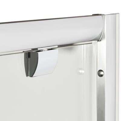 Doccia con porta battente e lato fisso Quad 77.5 - 79 x 77.5 - 79 cm, H 190 cm cristallo 6 mm trasparente/silver